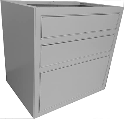 Kitchen Units Kitchen Base Unit 800mm 3 Drawer Pan/Cutlery Drawers with Shelf and Tongue and Groove Backboards Solid Wood VL5223