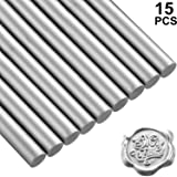 15 Pieces Glue Gun Sealing Wax Sticks for Retro Vintage Wax Seal Stamp and Letter, Great for Wedding Invitations, Cards Envelopes, Snail Mails, Wine Packages, Gift Wrapping (Silver) (Color: Silver)