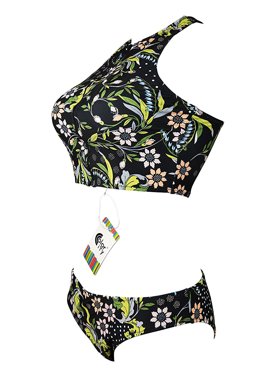 Color City Women Vintage Floral Zipper High Neck Bikini Beachwear Swimsuit 1