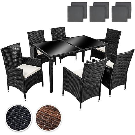 TecTake arredo giardino set rattan salotti rattan mobili in rattan tavoli per esterno sedie da giardino alluminio set 6+1 + 2 set di rivestimenti di ricambio per i cuscini, viti in acciaio inox - disponibile in diversi colori - (Antracite | No. 400873)