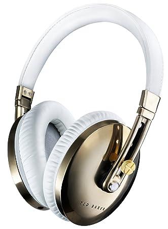 Ted Baker - London Rockall - Casque Audio Pliable à Haute Performance avec Télécommande/Microphone intégrés Compatible avec Dispositifs iOS Apple - Blanc/Or