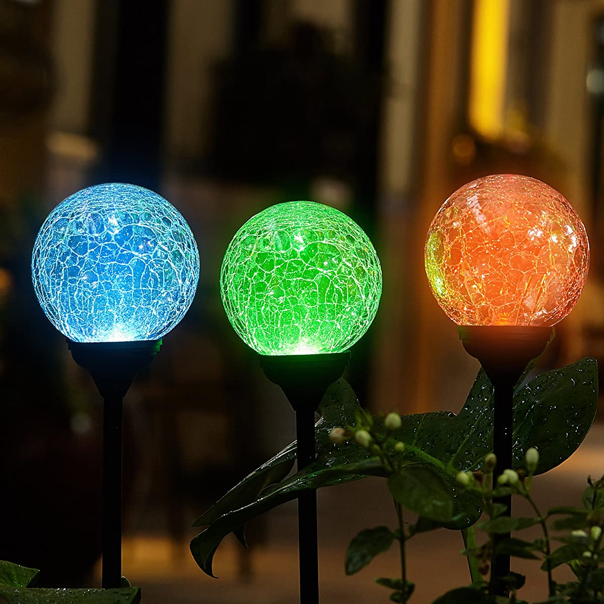 FC-Fancier Solar Powered Crackle Glass Ball,for Outdoor Garden Led Light Landscape / Pathway Lights,Color Changing and White,Weatherproof Design,3 Pack