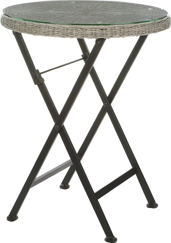 Gartenfreude Tisch Balkontisch Rundfaser Polyrattan Polyrattan, Grau, 60 x 74 cm (DxH) günstig online kaufen