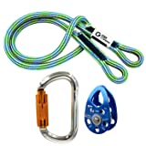GM CLIMBING Hitch Slack Tending Pulley Kit for Doubled Rope Climbing System Basic Unit of General Hauling - 30kN Micro Pulley & Oval Locking Carainber & 30in 8mm VT Prusik