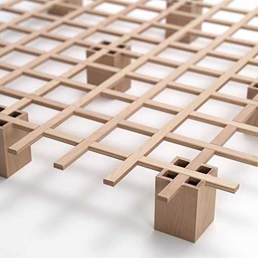 Tojo Bett | Tojo system Funktionsbett |180 x 200 cm | Ideal als Gästebett / Studentenbett / Jugendbett | Das flexible Raumwunder | Unbehandeltes Holzbett ohne Schrauben / Beschläge