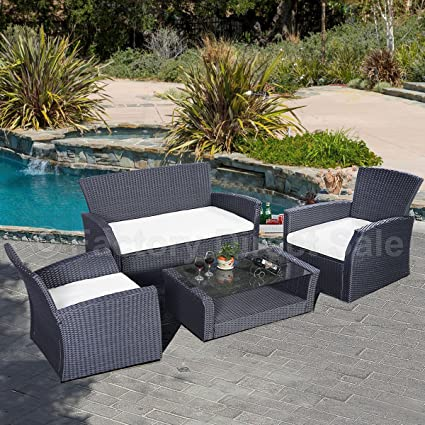 LOMIC 4PC Wicker Cushioned Outdoor Patio Furniture Set Garden Lawn Sofa Rattan Black