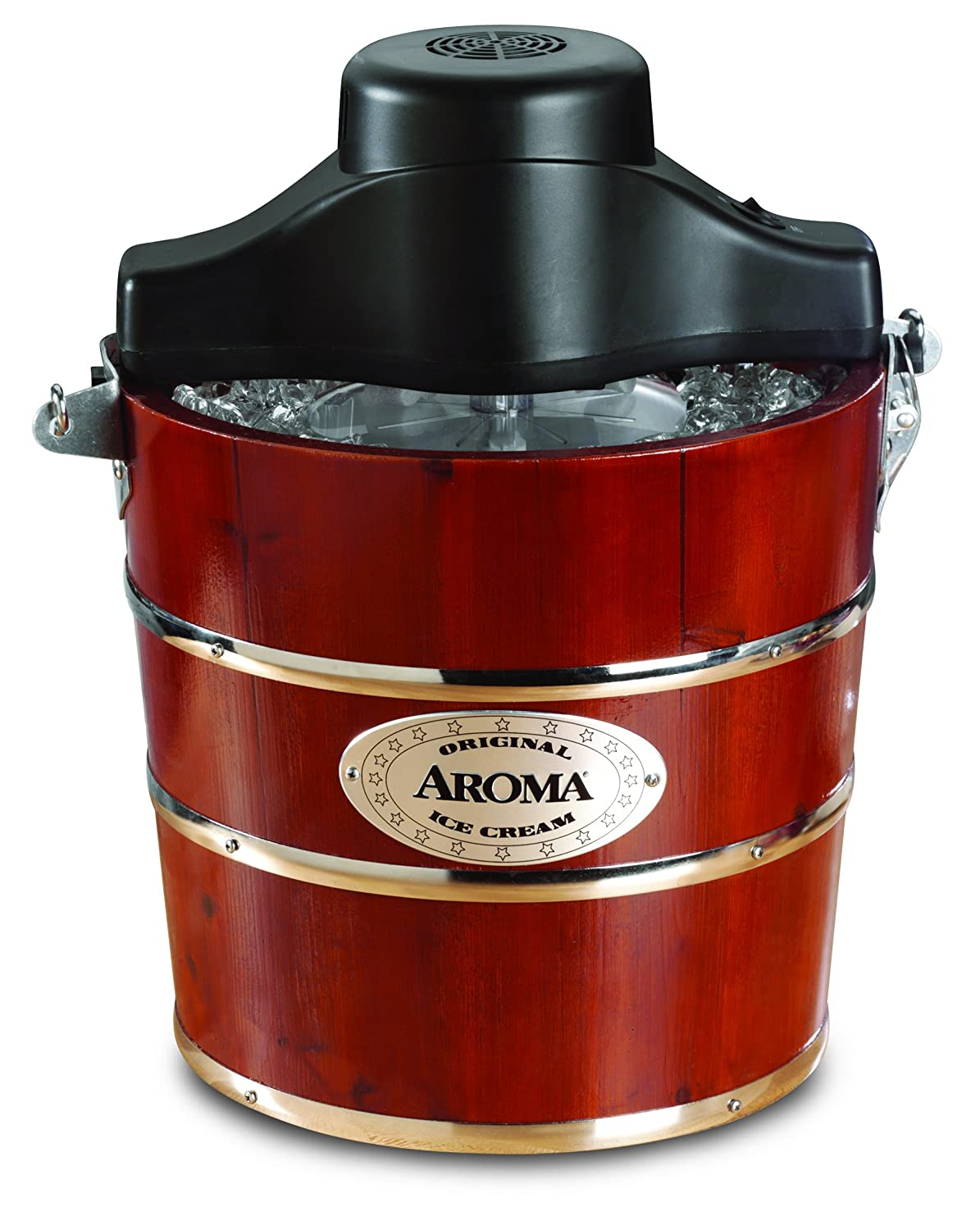 Latest Aroma 4-Quart Traditional Ice Cream Maker, Fir Wood