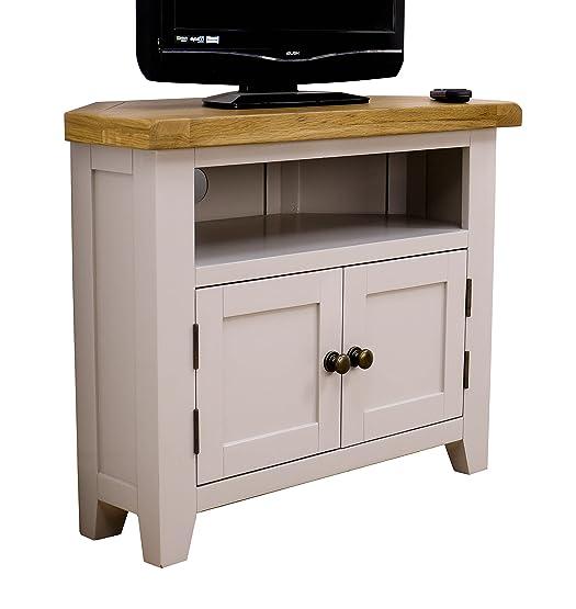Arklow mobile ad angolo per TV, in Legno di quercia verniciato grigio