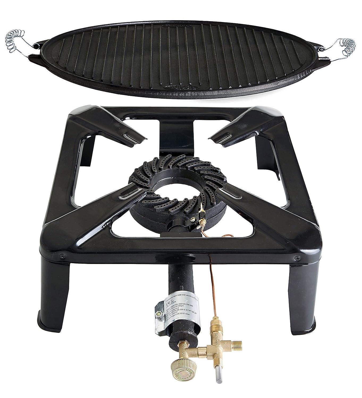 Hockerkocher-Set 2 mit Light Gussgrillplatte, klein günstig kaufen