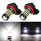 Alla Lighting 2000 Lumens High Power 2835 51-SMD Super Extremely Bright 6000K White H11LL H8LL H11 H8 H16 LED Bulbs for Fog Light Lamps Replacement (Tamaño: H11 / H8 / H16)
