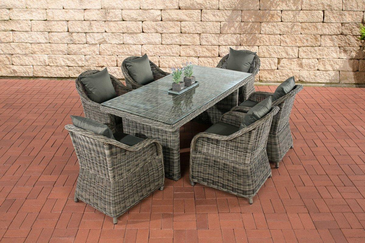 CLP Polyrattan Sitzgruppe LAVELLO grau-meliert, 6 Sessel inkl. Polster + Tisch 180 x 90 cm, Premiumqualität: 5 mm Rund-Rattan grau-meliert, Bezugfarbe anthrazit