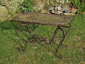 Nostalgie Gartentisch Schmiedeeisen 12kg Tisch Loungetisch antik Stil Braun