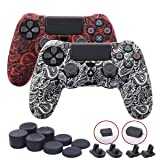 9CDeer 2 Pieces of Silicone Water Transfer Protective Sleeve Case Cover Skin + 8 Thumb Grips Analog Caps + 2 sets of dust proof plug for PS4/Slim/Pro Controller, Leaves Red & White (Color: Leaves Red & White, Tamaño: water print pack)