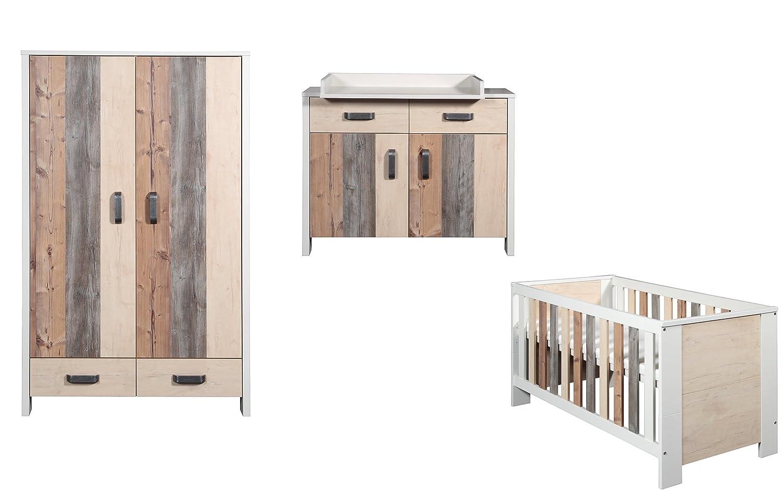 Schardt Kinderzimmer Woody bestehend aus Kombi-Kinderbett und 2-türigem Kleiderschrank