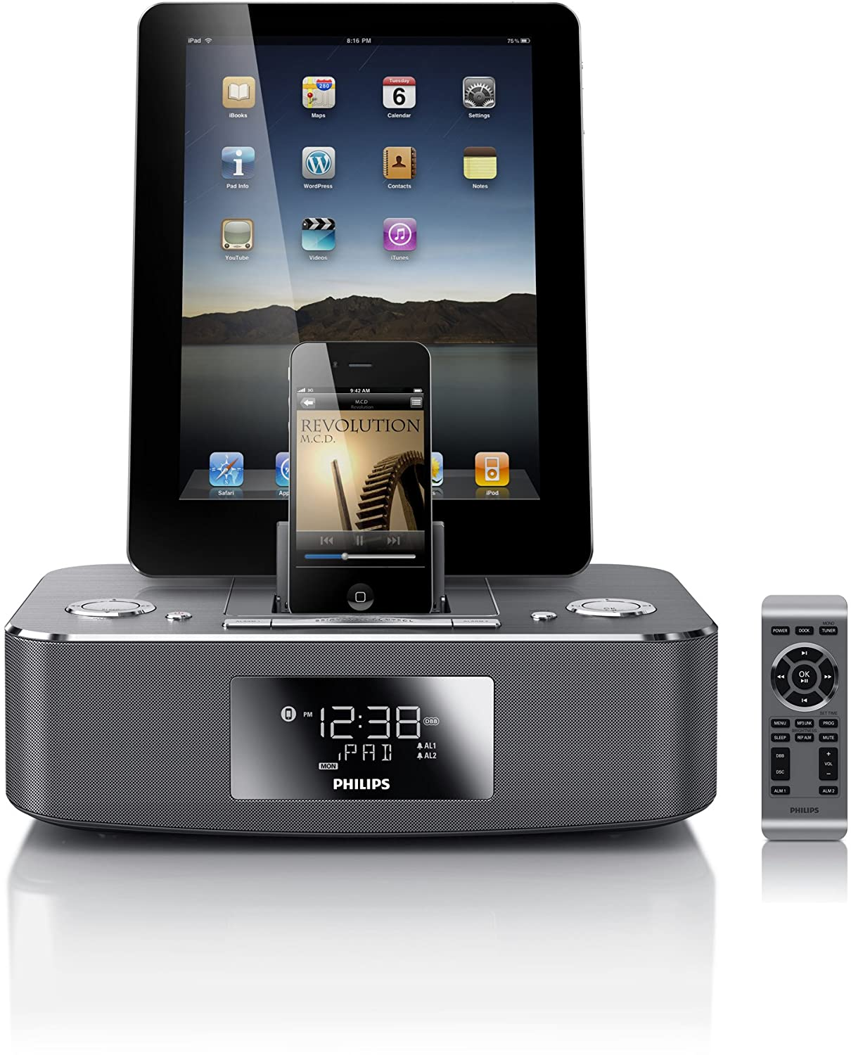 Philips DC390/37 Dual-Docking 30-Pin iPod/iPhone/iPad Alarm Clock Speaker Dock $56.99