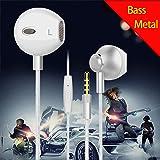 Earbud Headphones Earphones Microphone HD Voice In-Ear Metal HD Stereo Bass earpods For iPhone iPad iPod Google Samsung LG HTC (Color: white)