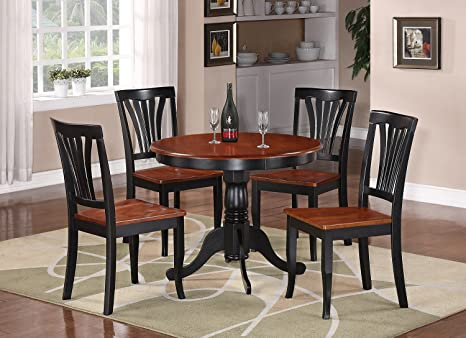 "3 Pc Round Bristol Table Dinette Kitchen Table & 2 Chairs in Black & Cherry 36"" Diameter"