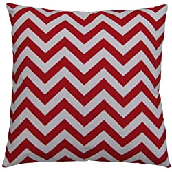 JinStyles Cotton Canvas Chevron Striped Accent Decorative Throw Pillow Cover / Cushion Sham (Red & White Square)
