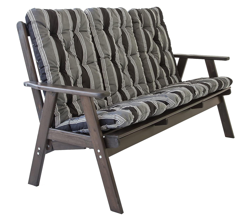 Ambientehome verstellbare Gartenbank 3-Sitzer Bank Massivholz Holzbank Relaxfunktion inkl. Kissen VARBERG, Taupegrau