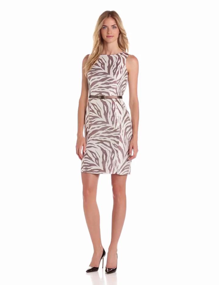 Anne Klein Womens Zebra Jacquard Zipper Sheath Dress, Ivory/Coconut, 4
