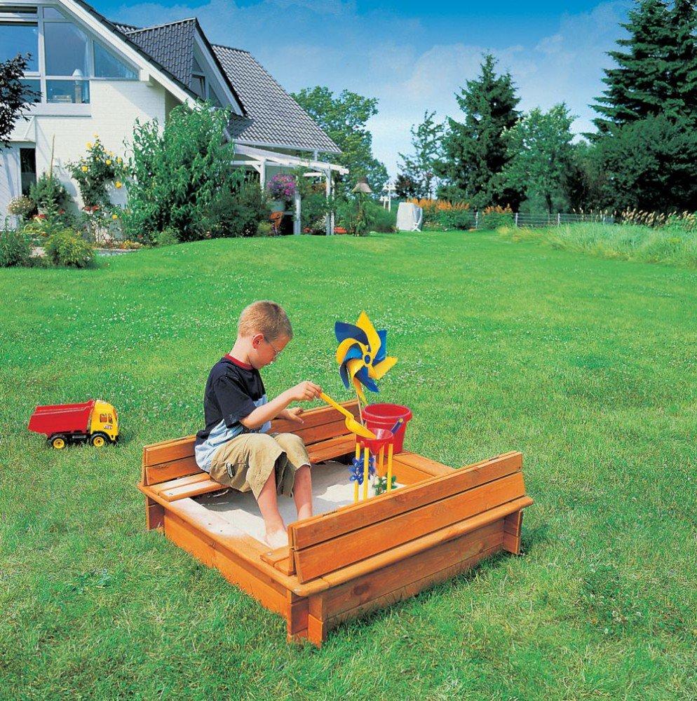 Sandkasten Modell Donald 1 x 1 m imprägniertes Holz Gartenspielzeug