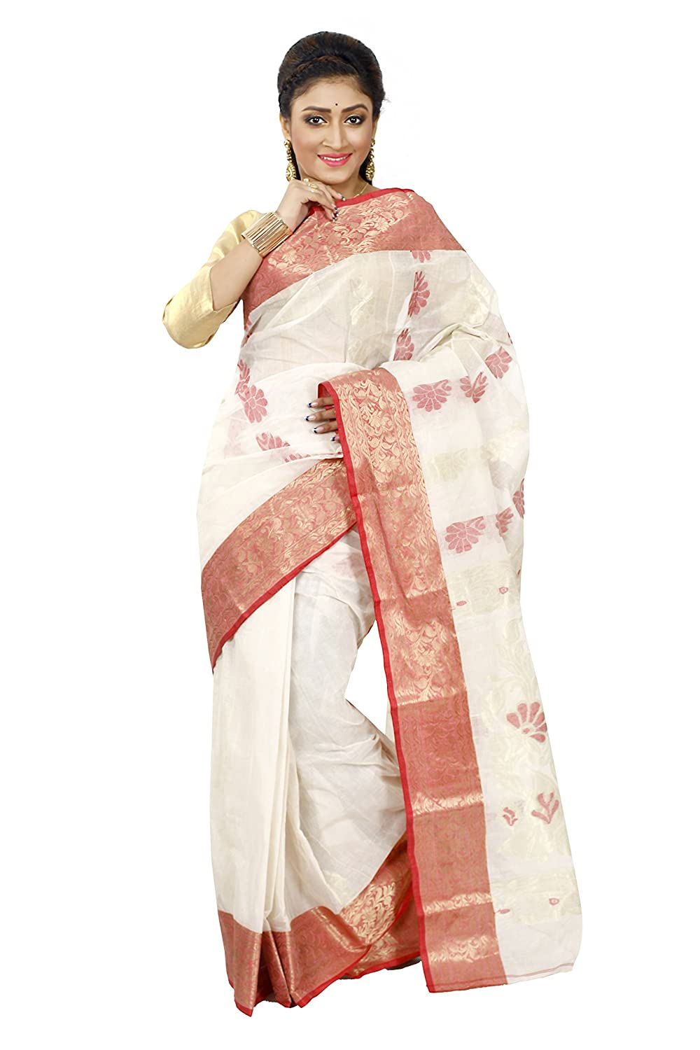 Traditional Ethnic Bengal Offwhite Handloom Tant