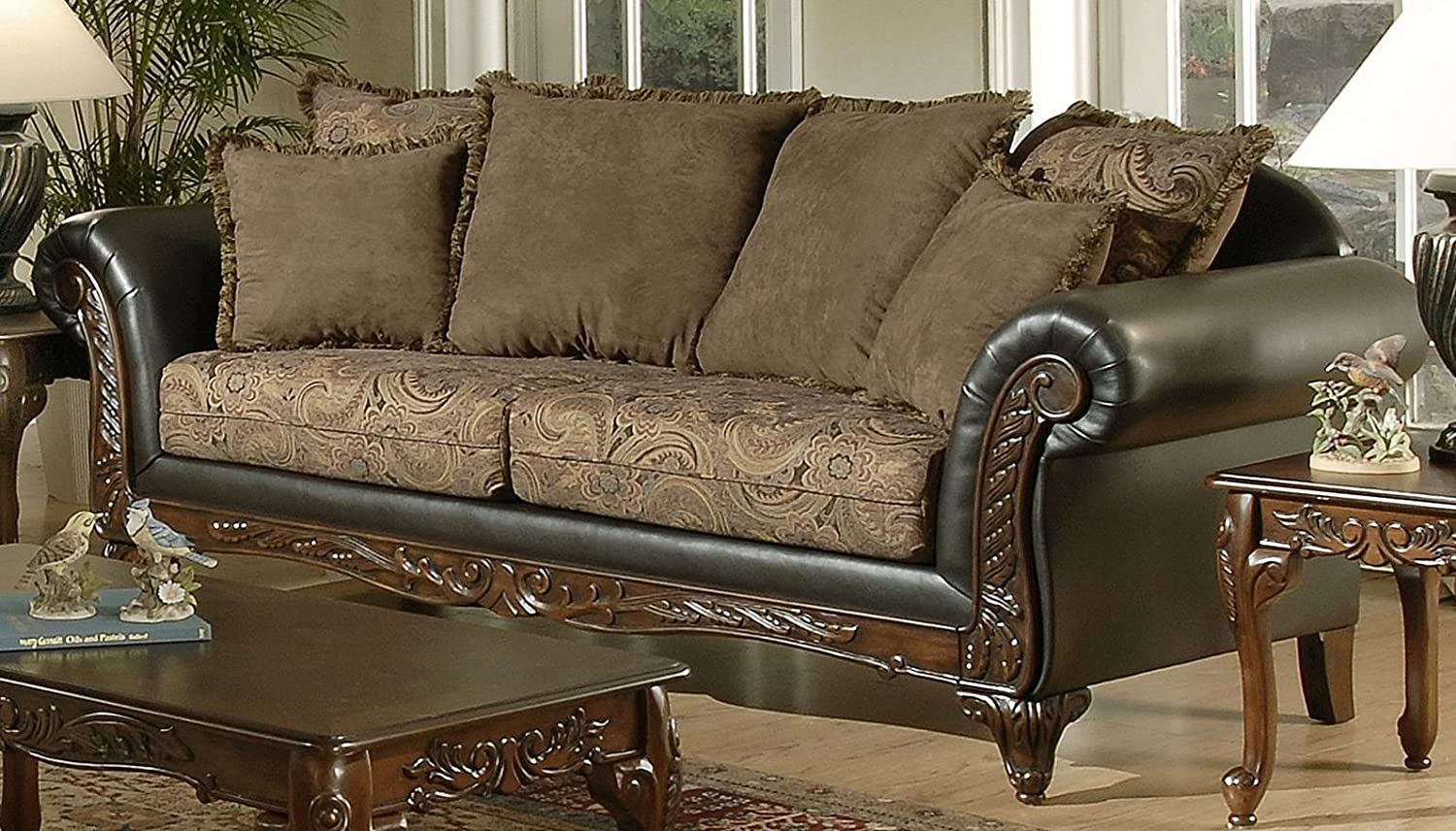 Chelsea Home Furniture Serta Ronalynn Sofa - Base Upholstered in San Marino Chocolate Poly Cotton Blend