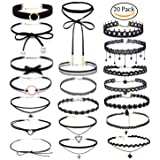 Choker Set, Bassion 20 PCS Womens Black Velvet Choker Necklace Set Classic Gothic Tattoo Lace Chokers (Color: 20 Pcs, Tamaño: One Size)