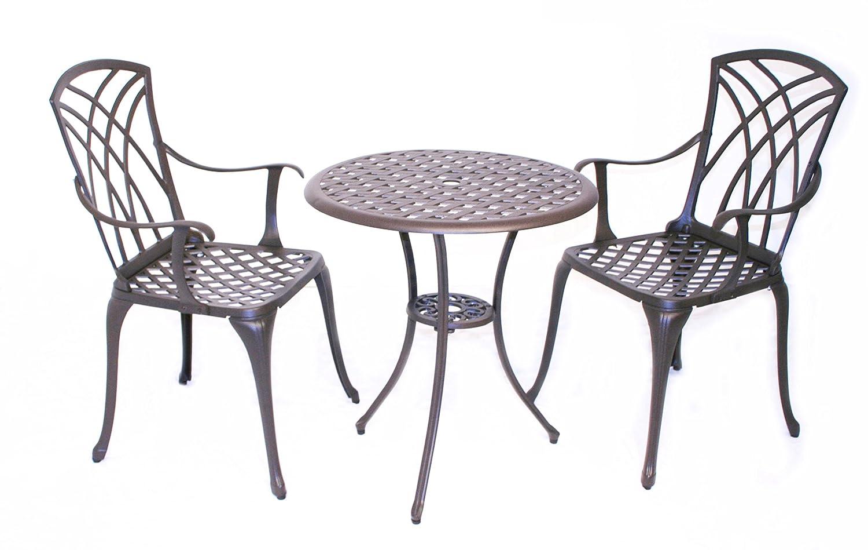 Bentley Garden - Bistro-Sitzgarnitur - 1 Tisch & 2 Stühle - Aluminiumguss