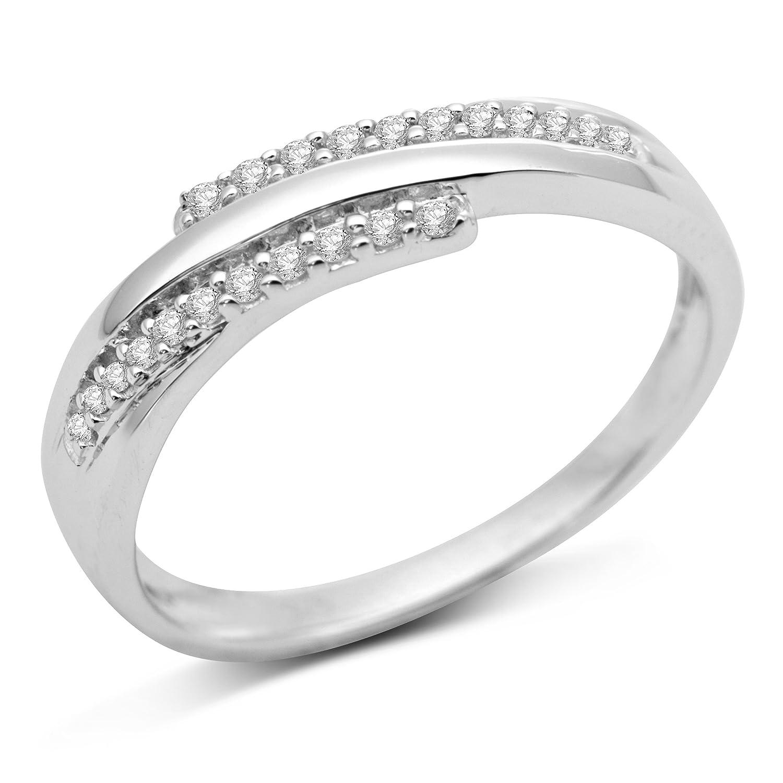 Miore Damen-Ring 9 Karat (375) Weißgold Diamant SA924R6 online bestellen