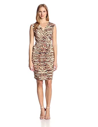 Anne Klein Women's Animal Print Dress, Rope Multi, X-Small