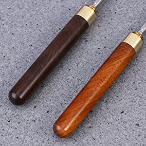 BESTONZON 2pcs Portable Stainless Steel Ice Pick Ice Tool Tea Needle Tea Knife with Copper Handle(Rosewood) (Color: As Shown)