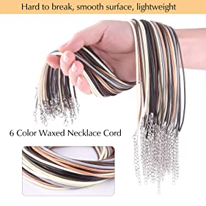 TUPARKA 60 Pcs Waxed Necklace Cord with Clasp 6 Assorted Colors 2mm Necklace Rope for DIY Bracelet Necklace Jewelry Making Accessories (Color: Multicolor, Tamaño: 60pcs)