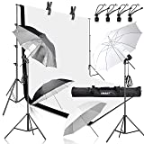 Emart 400W 5500K Daylight Umbrella Continuous Lighting Kit, 8.5x10ft Background Support System with 2 Muslin backdrops (Black and White) for Photo Studio Product, Portrait and Video Shoot Photography (Color: White)