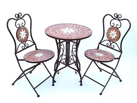 Più posti a sedere Merano 12001-2 Tavolo da giardino + 2 sedie da giardino in metallo Tavolo a mosaico + 2 sedie