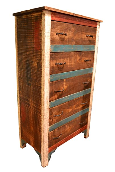 Crafters & Weavers Reclaimed Distressed Solid Wood Painted Dresser with 5 Drawers