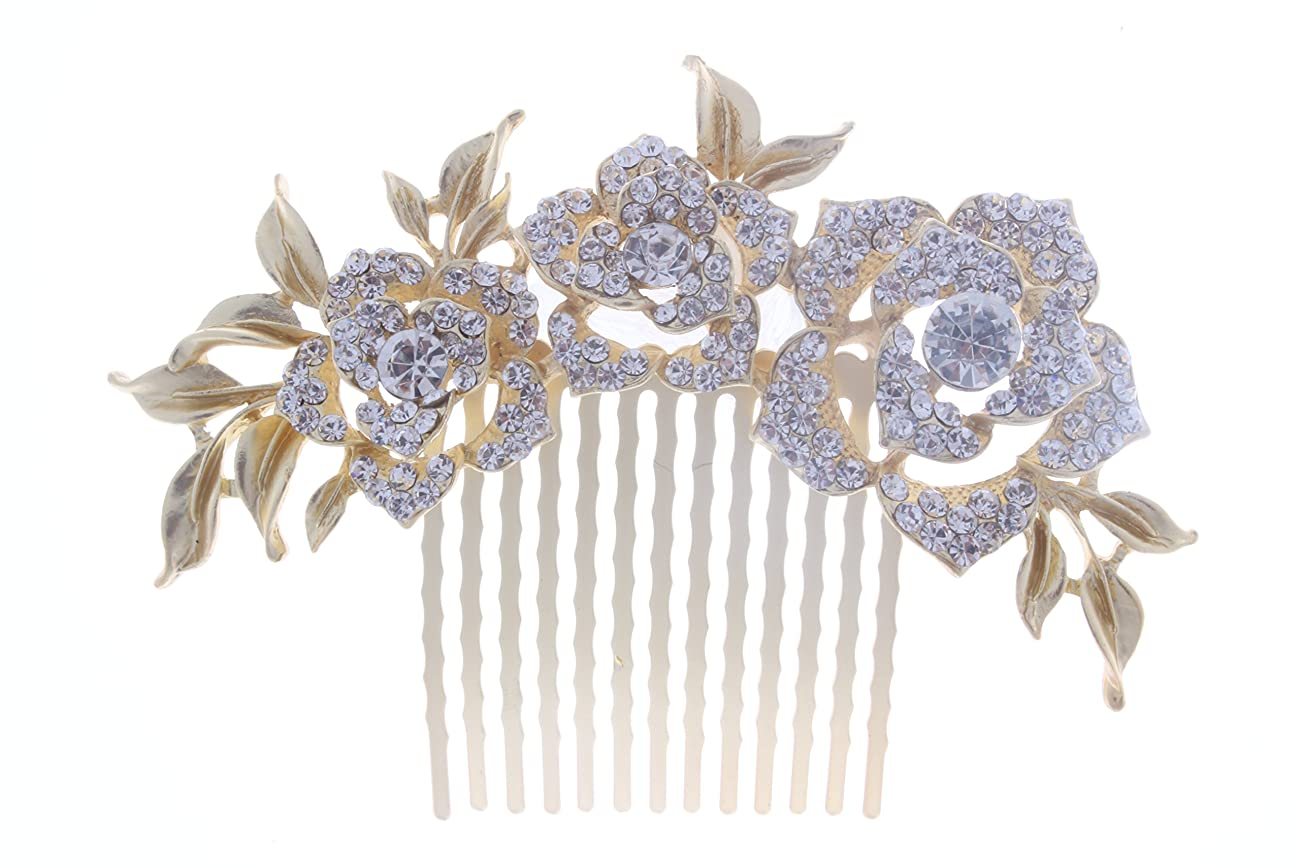 KimmyKu Bridal Hair Accessories Vintage Rose Gold Wedding Party Hair Comb Crystal Vine Bridal 0