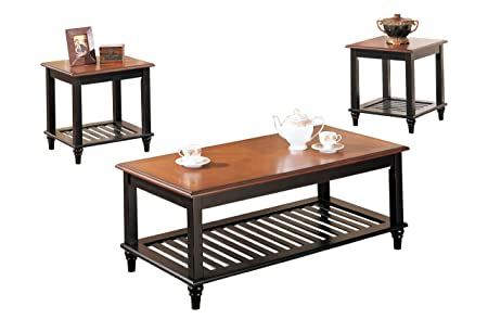 Poundex 3-Piece Coffee Table, Black/Oak