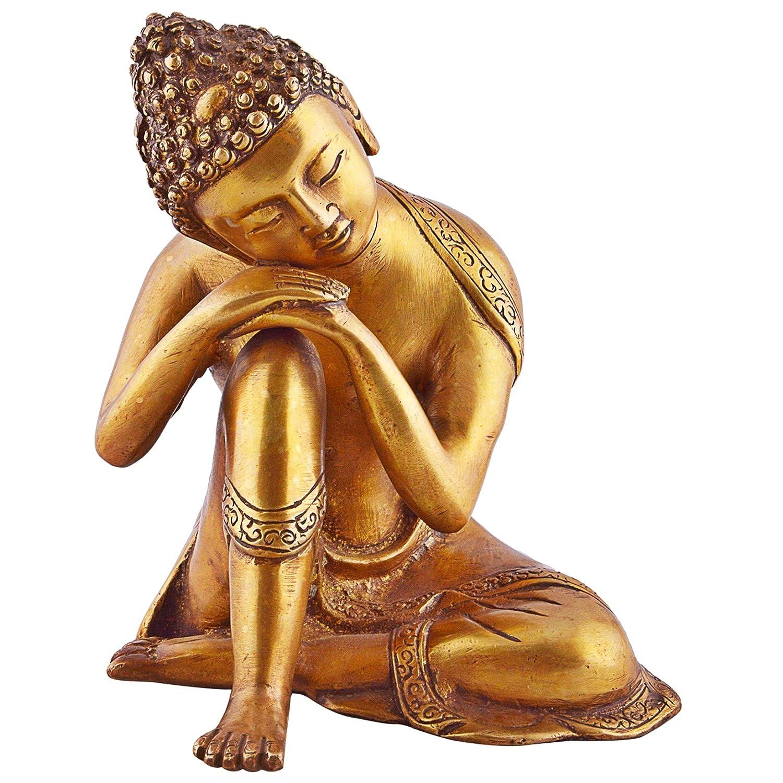 "RECLINING ~ SLEEPING ~ 7.5/"" LONG WHITE RESIN BUDDHA"