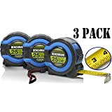 3 Pack - 25 FT - Benchmark Tape Measure / Measuring Tape - Easy to Read Fractions - Large Magnetic Claw Tip - Bulk Pack (Color: Blue & Green)