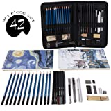 Professional Art Set 42 PCS Drawing and Sketching Set- Drawing, Sketching and Charcoal Pencils. 2 x 50 Page Drawing Pad!Kneaded Eraser Included. Art Kit for Kids, Teens and Adults (Color: 42pcs)