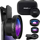 Cell Phone Lens Attachment | ZWARTpro 2 in 1 Wide Angle & Macro Camera Lens Kit for iPhone, iPad and Most Android Mobiles Phones & Tablets + Protective Case (Bigeye 53mm) (Color: Coal Black, Tamaño: BigEye 53mm)