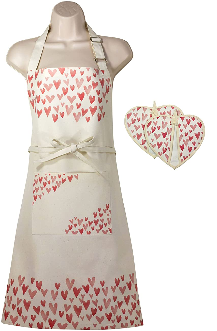 Women's Apron and Oven Mitt Set for Kitchen, Cooking, Baking, Apron has Bib and Large Pocket, Cute Patterns (Vintage Rose) 0