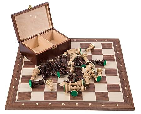 Pro Set de jeu d'échecs no 5 - ITALIE - Échiquier + Pièces d'échecs - Staunton 5
