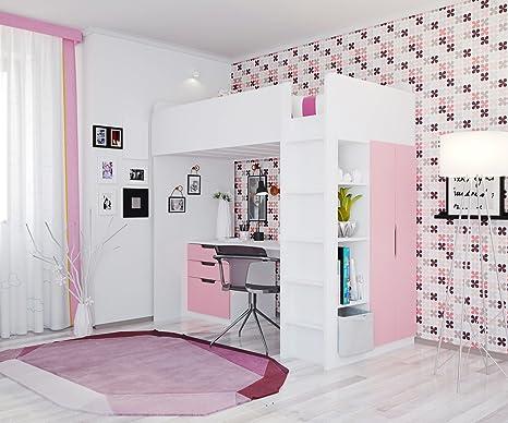 Letto alto per bambini, Polini Kids Combinazione 5 in 1 colore bianco rosa