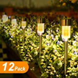 Sunnest 12Pack Outdoor Garden Lights, LED Solar Powered Pathway Lights, Stainless Steel Landscape Lighting for Lawn/Patio/Walkway/Driveway (Warm White) (Color: Warm White)