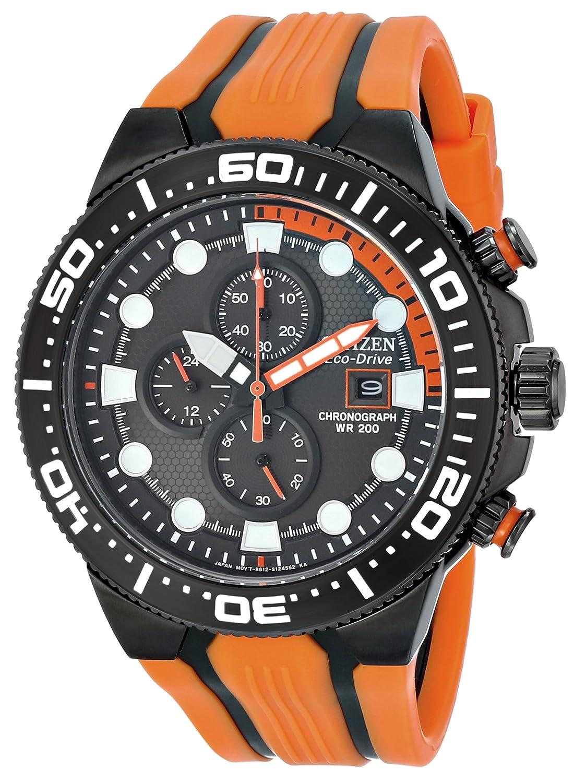 Citizen men 39 s ca0517 07e eco drive scuba fin orange and black dive watch ebay - Orange dive watch ...