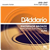 D'Addario EJ15 Phosphor Bronze Acoustic Guitar Strings, Extra Light (1 Set) – Corrosion-Resistant Phosphor Bronze, Offers a Warm, Bright and Well-Balanced Acoustic Tone and Comfortable Playability (Color: White Black Red Blue, Tamaño: 1-Pack)
