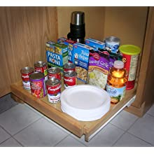 Shelf On Wheels Expandable Pull-Out Kitchen Cabinet Shelf, Wood