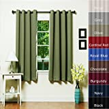 Olive Grommet Top Thermal Insulated Blackout Curtain 63 Length 1 Pair - GT